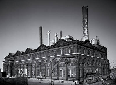 Photograph - St Louis Powerhouse Laclede Landing Black And White by Greg Kluempers