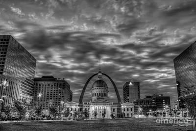 Photograph - St Louis Reflective Sunrise B W Old St Louis County Court House Art by Reid Callaway