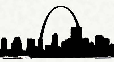 St Louis Silhouette With Boats 2 Art Print