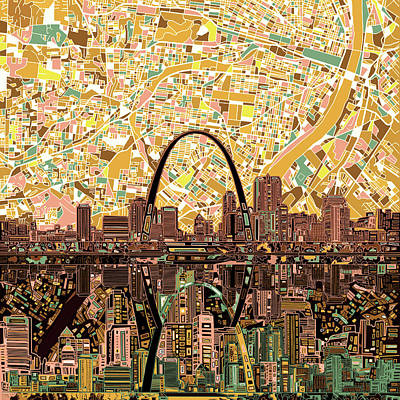 Painting - St Louis Skyline Abstract 11 by Bekim Art