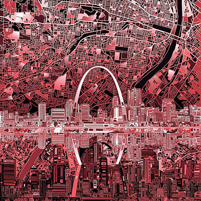 Painting - St Louis Skyline Abstract 3 by Bekim Art