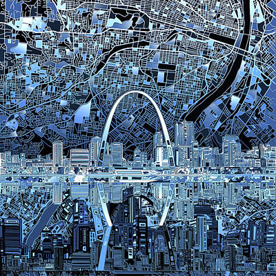 Painting - St Louis Skyline Abstract 5 by Bekim Art