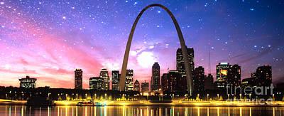 Digital Art - St Louis Skyline As Night Falls by Rod Jellison