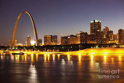 Illuminated Photograph - St Louis Skyline by Bryan Mullennix
