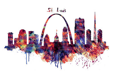 Purple Digital Art - St Louis Skyline by Marian Voicu