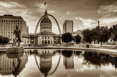 Photograph - St. Louis Skyline Morning Reflections - Sepia Edition by Gregory Ballos