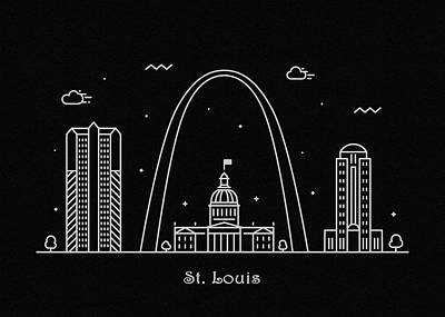 Drawing - St. Louis Skyline Travel Poster by Inspirowl Design