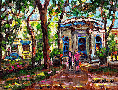 Painting - St Louis Square Park Kiosk Sandwich Shop Romantic Stroll C Spandau Plateau Mont Royal                by Carole Spandau