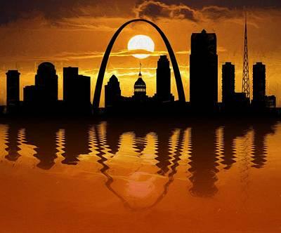 Digital Art - St Louis Sunset Skyline Reflection by Dan Sproul