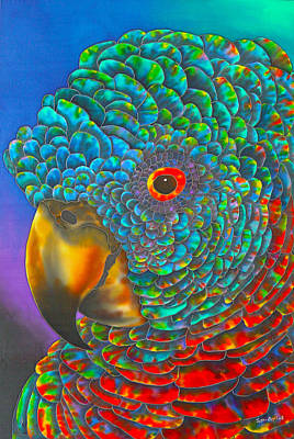 Batik Painting - St. Lucian Parrot - Exotic Bird by Daniel Jean-Baptiste