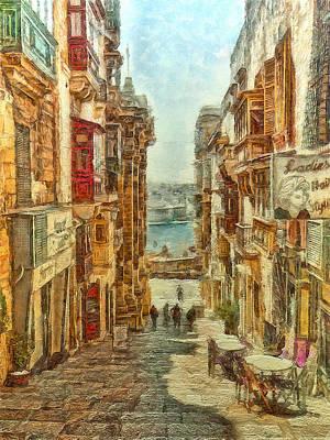 Digital Art - St. Lucia's Street, Valletta by Leigh Kemp