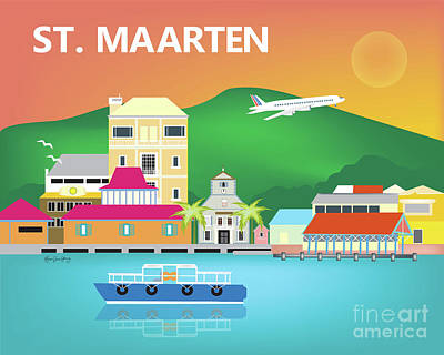 Sint Maarten Digital Art - St. Maarten Horizontal Scene by Karen Young