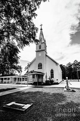 Photograph - St. Margaret Catholic Church - Springfield Louisiana Bw by Scott Pellegrin