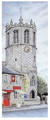 Brick Building Drawing - St Margarets Church Clock  Hornby  Lancashire by Sandra Moore