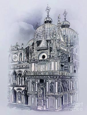 Drawing - St Mark's Basilica. by Andrzej Szczerski