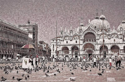 Photograph - St. Mark's Basilica B And W by Allen Beatty