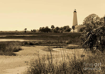 Photograph - St Marks Lighthouse With Marsh In Sepia.jpg by Carol Groenen