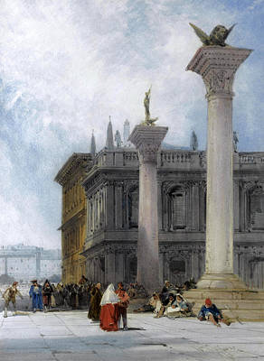 William Callow Drawing - St. Mark's Square. Venice by William Callow