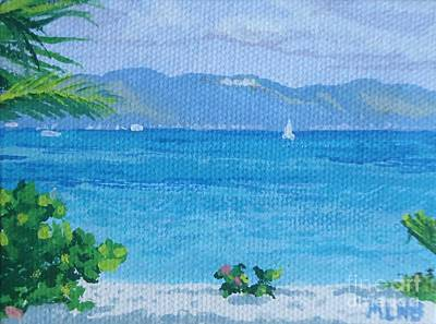 Tropics Painting - St Martin From Anguilla by Margaret Brooks