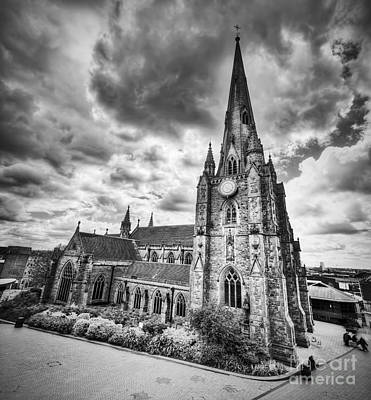 History Photograph - St Martin In The Bull Ring Church In Birmingham, Uk. Black And White by Michal Bednarek