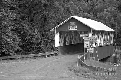 Photograph - St. Mary Covered Bridge Around The Bend Black And White by Adam Jewell