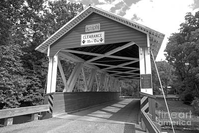 Photograph - St. Mary Covered Bridge Closeup Black And White by Adam Jewell