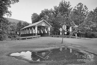 Photograph - St Mary Covered Bridge Reflections Black And White by Adam Jewell