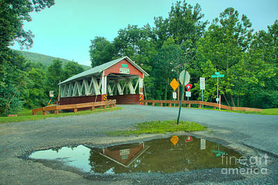 Photograph - St Mary Covered Bridge Refletions by Adam Jewell