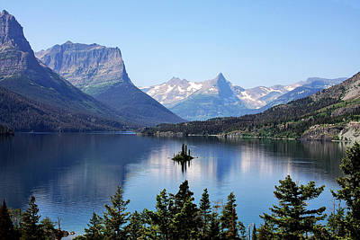 Peaks Photograph - St Mary Lake - Glacier National Park Mt by Christine Till