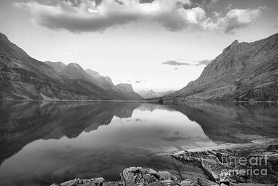 Photograph - St Mary Lake Clouds And Sunrise Black And White by Adam Jewell