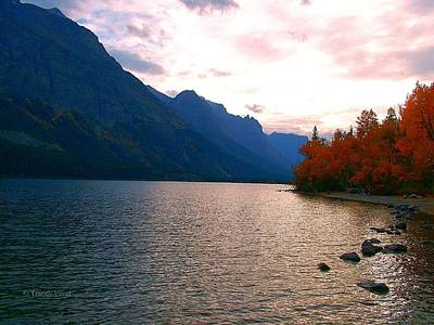 Photograph - St Mary Lake, Fall Sunset by Tracey Vivar