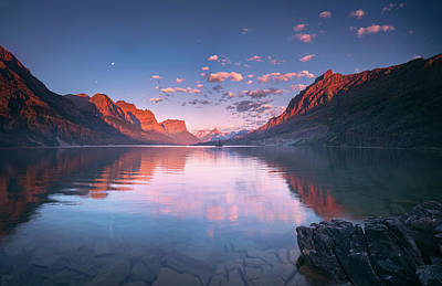 Photograph - St Mary Lake In Early Morning With Moon by William Lee