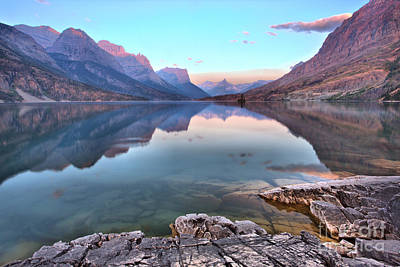 Photograph - St Mary Lake Purple Highlights by Adam Jewell