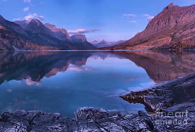 Photograph - St Mary Lake Purple Morning Reflections by Adam Jewell
