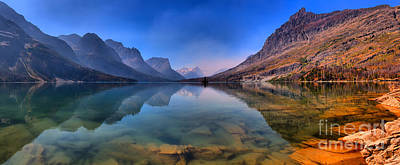 Photograph - St Mary Lake Reflection Panorama by Adam Jewell