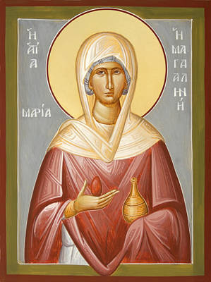 Egg Tempera Painting - St Mary Magdalene by Julia Bridget Hayes