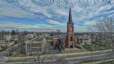 Digital Art - St. Mary Parish Portrait by Dave Luebbert