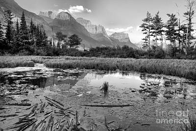 Photograph - St Mary Peaks Hazy Reflections Black And White by Adam Jewell