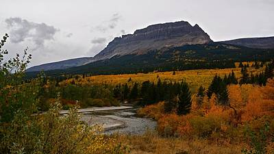 Photograph - St Mary River And Singleshot Mountain, Autumn In Glacier National Park by Tracey Vivar
