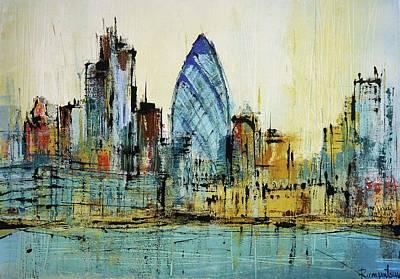 London Skyline Paintings - St Marys Axe London Print by Irina Rumyantseva