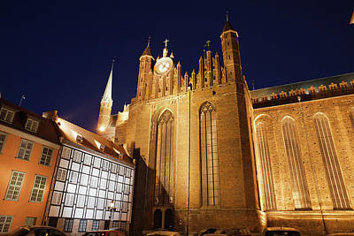 Medieval Temple Photograph - St. Mary's Church At Night In Gdansk by Artur Bogacki