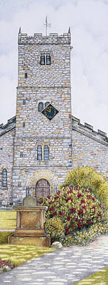Brick Building Drawing - St Mary's Church Clock  Kirkby Lonsdale  Cumbria by Sandra Moore