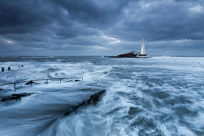 St Mary Photograph - St Mary's Lighthouse And The Cold North Sea by Anita Nicholson