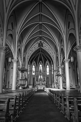 St Mary's Painted Church Bw Art Print by Joan Carroll
