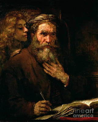 Old Books Painting - St Matthew And The Angel by Rembrandt Harmensz van Rijn