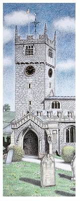 Brick Building Drawing - St Michael And All Angels Church Clock  Beetham Cumbria  by Sandra Moore