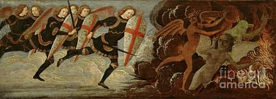 Shield Painting - St. Michael And The Angels At War With The Devil by Domenico Ghirlandaio