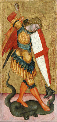 Slaying Painting - St Michael And The Dragon by Mountain Dreams