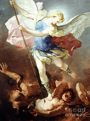 Painting - St Michael Defeats Demon by Luca Giordano