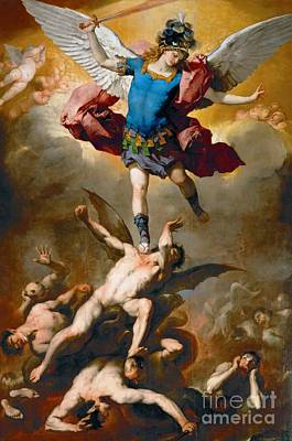 St. Michael Painting - St. Michael The Archangel And The Fallen Angels by Celestial Images